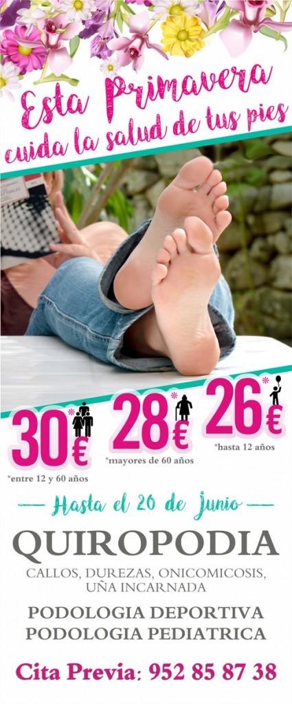 OFERTA PRIMAVERA ! Hasta el 20 de Junio puede beneficiarse de unos precios especiales para que en estas fechas puedan tener sus pies cuidados. Recuerde que unos pies sanos son la base de una buena salud.